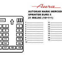 Rozkład miejsc autokar Mercedes Sprinter Euro 5 21 miejsc Transport Pasażerski Aura Ozorków wynajem busów i autokarów premium