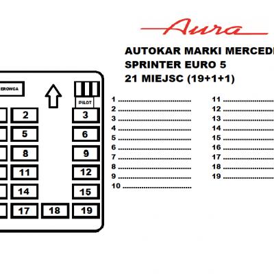 Rozkład miejsc autokar Mercedes Sprinter Euro 6 21 miejsc Transport Pasażerski Aura Ozorków wynajem busów i autokarów premium