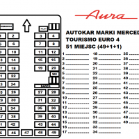 Rozkład miejsc autokar Mercedes Tourismo Euro 4 49 miejsc Transport Pasażerski Aura Ozorków wynajem busów i autokarów premium