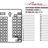 rozkład miejsc autokar mercedes tourino euro 4 32 miejsca Transport Pasazerski Aura Ozorków wynajem busów i autokarów premium