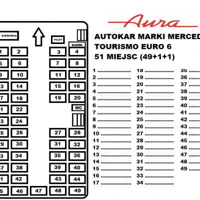 Rozkład miejsc autokar Mercedes Tourismo Euro 6 51 miejsc Transport Pasażerski Aura Ozorków wynajem busów i autokarów premium