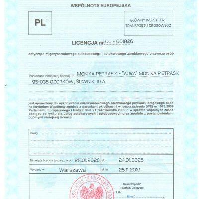 Licencja Międzynarodowy Przewóz Osób OU-001926