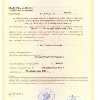 Licencja Krajowy Przewóz Osób na rok 2020 ważny do rok 2070